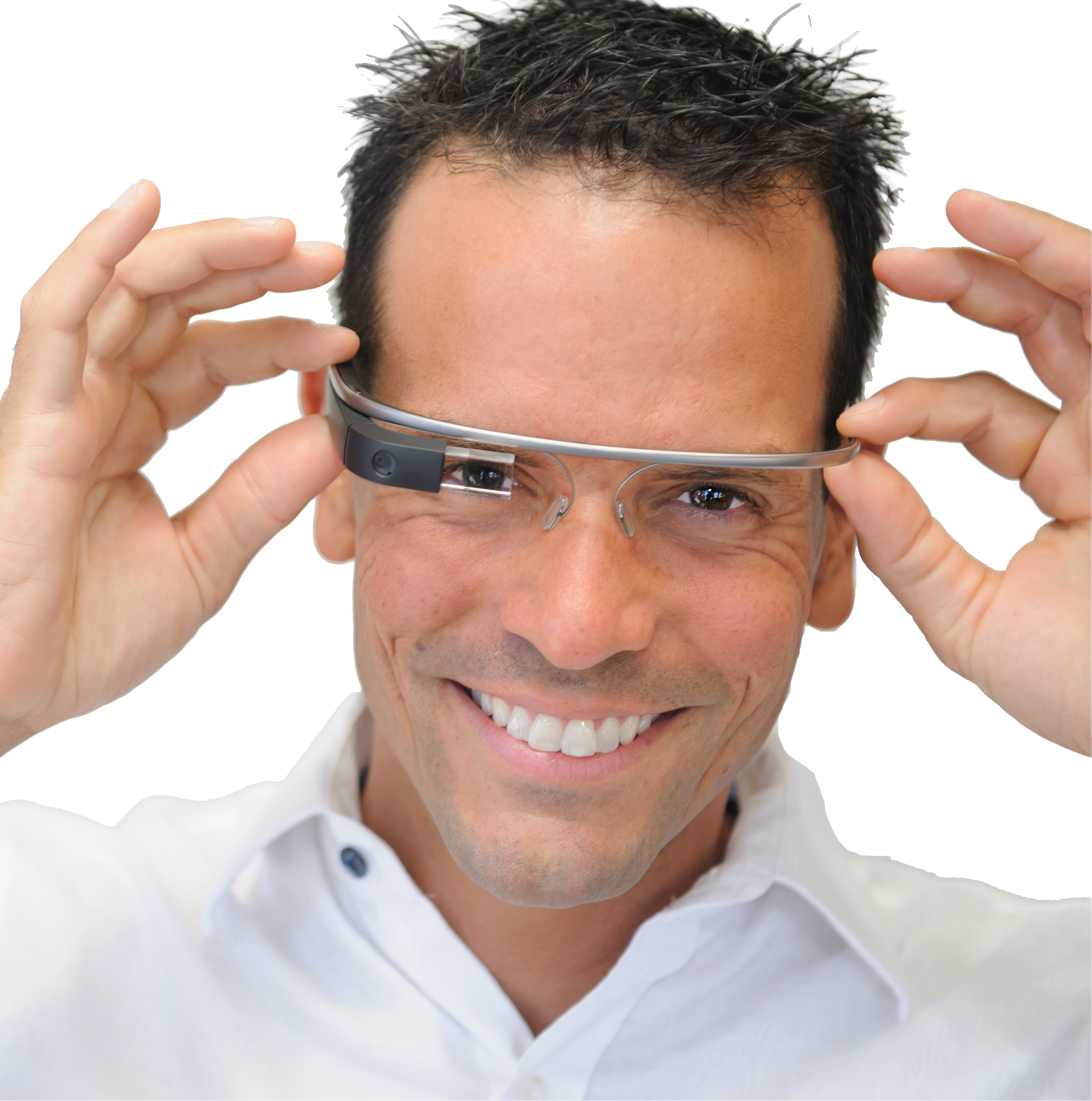 Ned Sahin trying on Google Glass